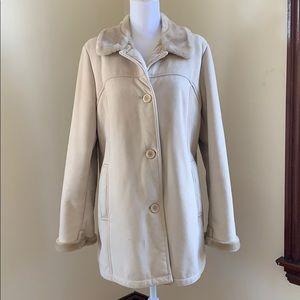 Faux Fur Button Down Long Sleeved Coat